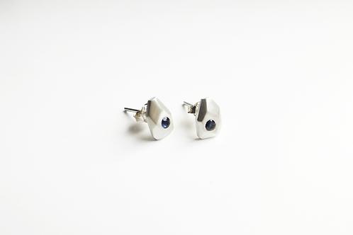 Mini Silver and Sapphire Iceberg Earrings