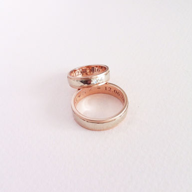 Rose & White Gold Wedding Rings
