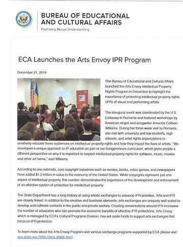 ECA Launches Arts Envoy IPR Amanda Colle