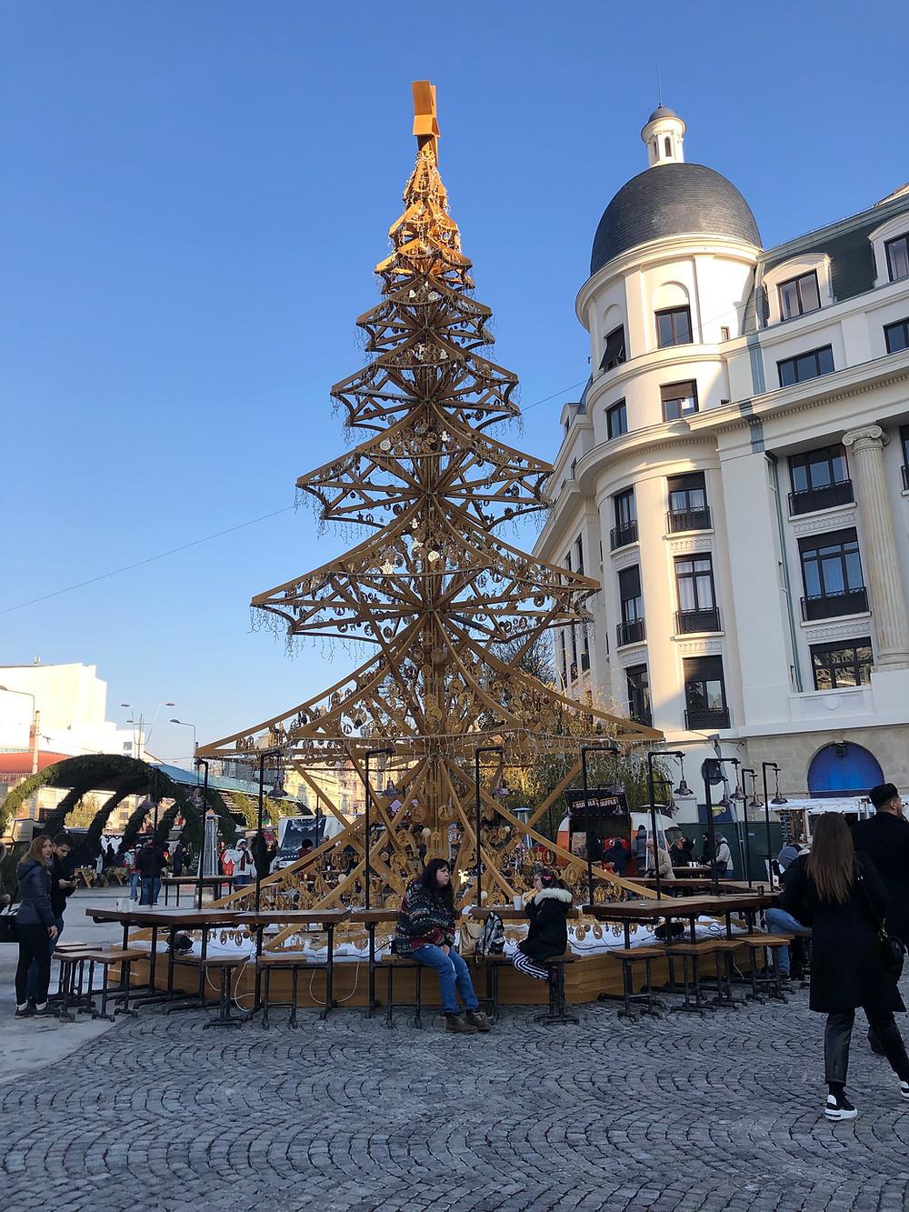 Unlit Christmas Tree in Bucharest