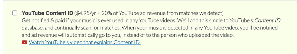 DistroKid YouTube Content ID opt-in option for independent artists