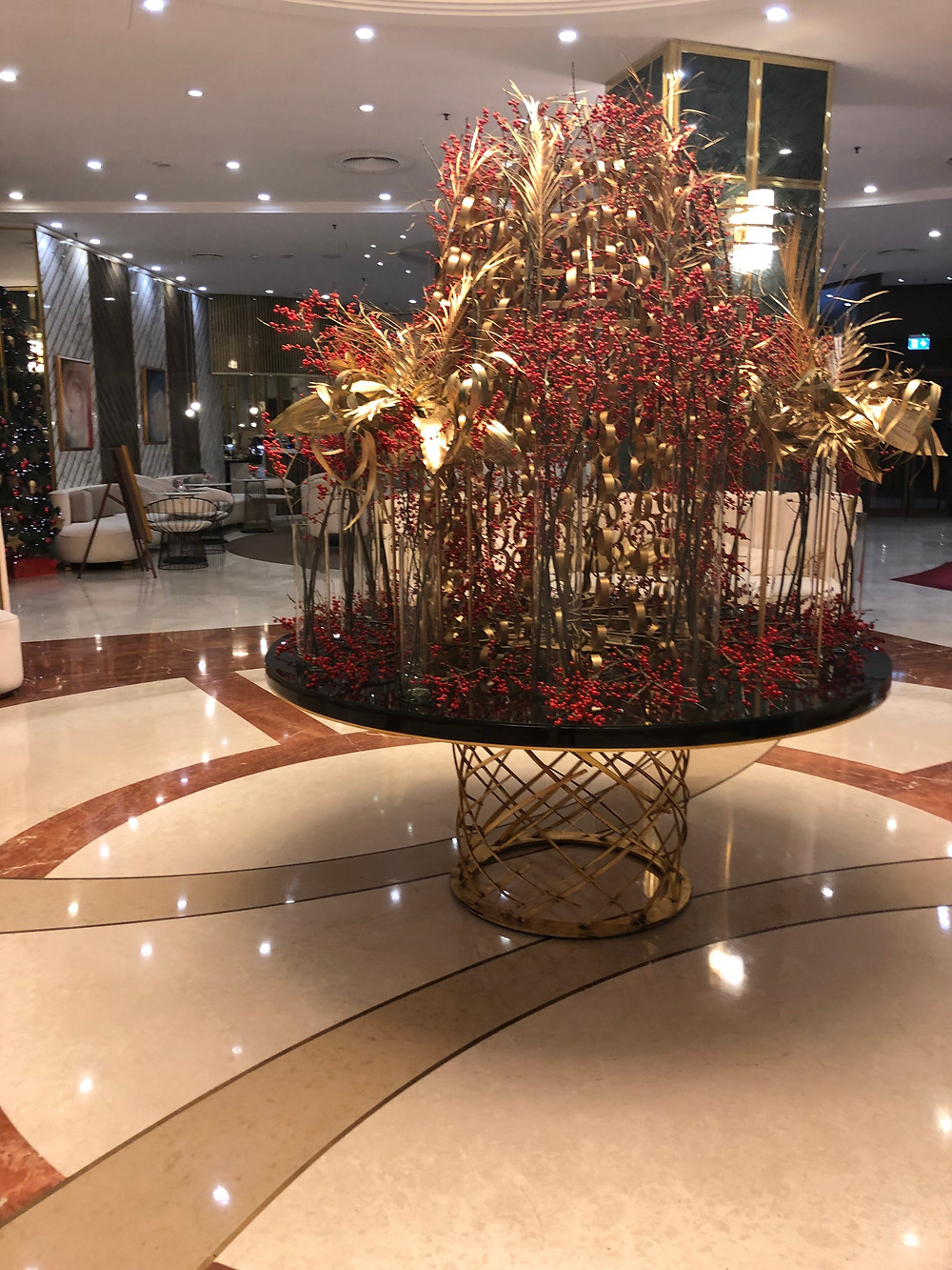 Lobby decorated for Christmas Bucharest