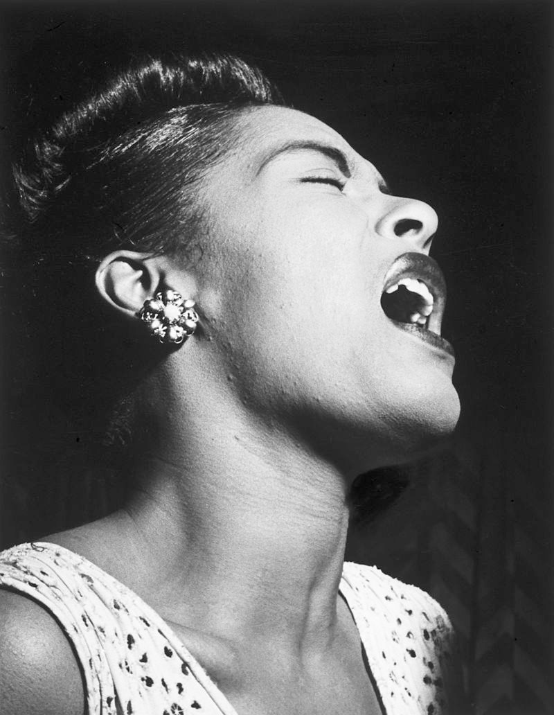 photo credit circa 1947 from Wiki Billie Holiday attributed to William P. Gottlieb United States Library of Congress's Music Division public domain since February 16, 2010.