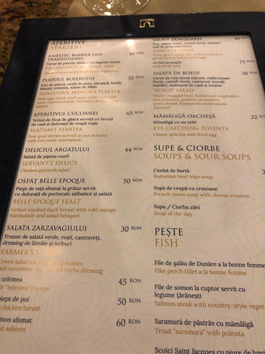 Hotel Intercontinental Bucharest Menu