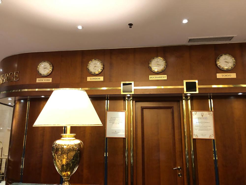 World clocks at Hotel
