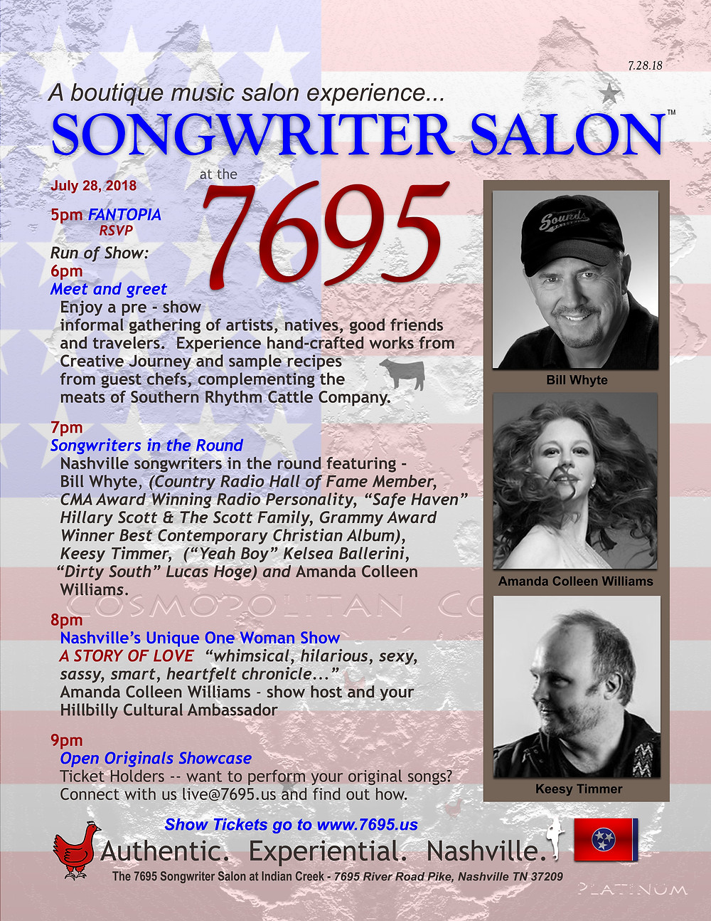 Songwriter Salon at the 7695 Bill Whyte, Keesy Timmer, Amanda Colleen Williams