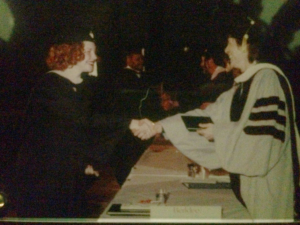 Berklee College of Music graduation 1999 with honorary doctorate David Bowie shaking hands with music business / management magna cum laude graduate Amanda Colleen Williams