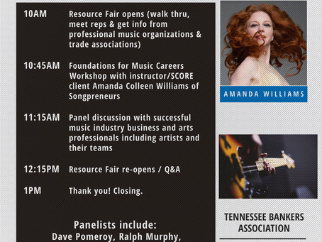Songpreneurs To Lead SCORE Music Symposium Workshop in Nashville   July 28th, 2017