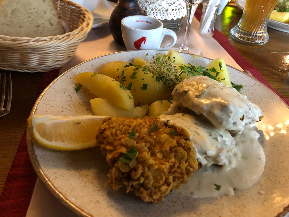 Cornflake crusted Trout at Hermania Sibiu Romania
