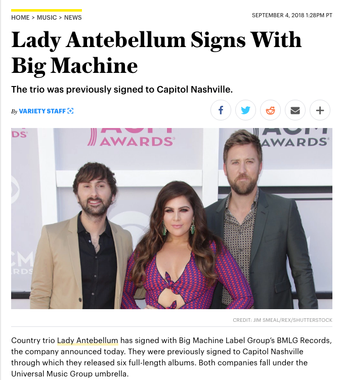 Lady Antebellum Signs With Big Machine Variety