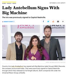 Lady Antebellum Signs With Big Machine Variety