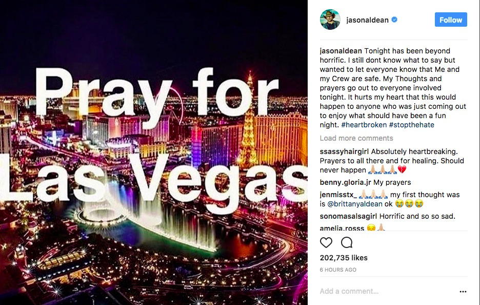 Instagram post by Jason Aldean Pray for Las Vegas
