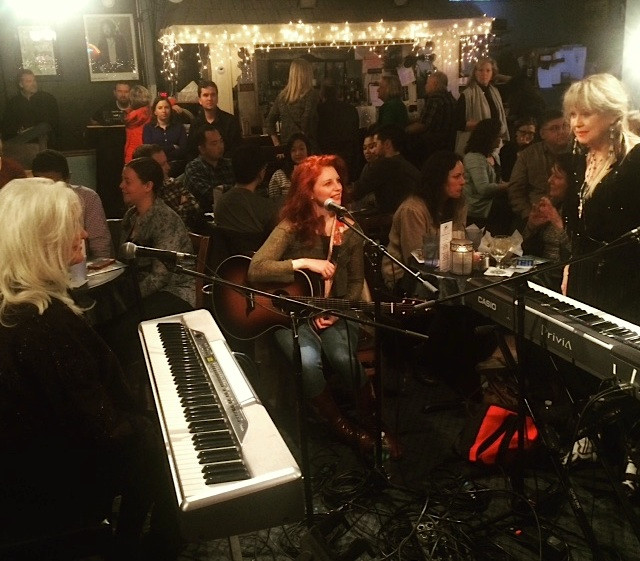 In the round at Bluebird Cafe in Nashville, TN Benita Hill, Amanda Colleen Williams, Becky Hobbs at Alive Hospice benefit