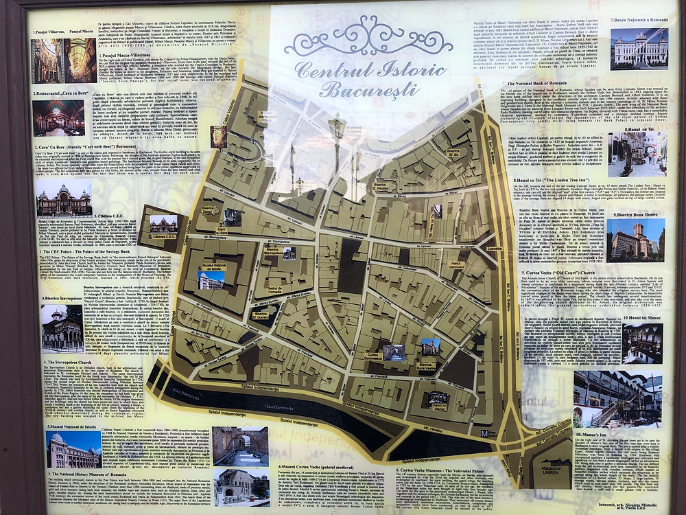 Map of historic old city Bucharest