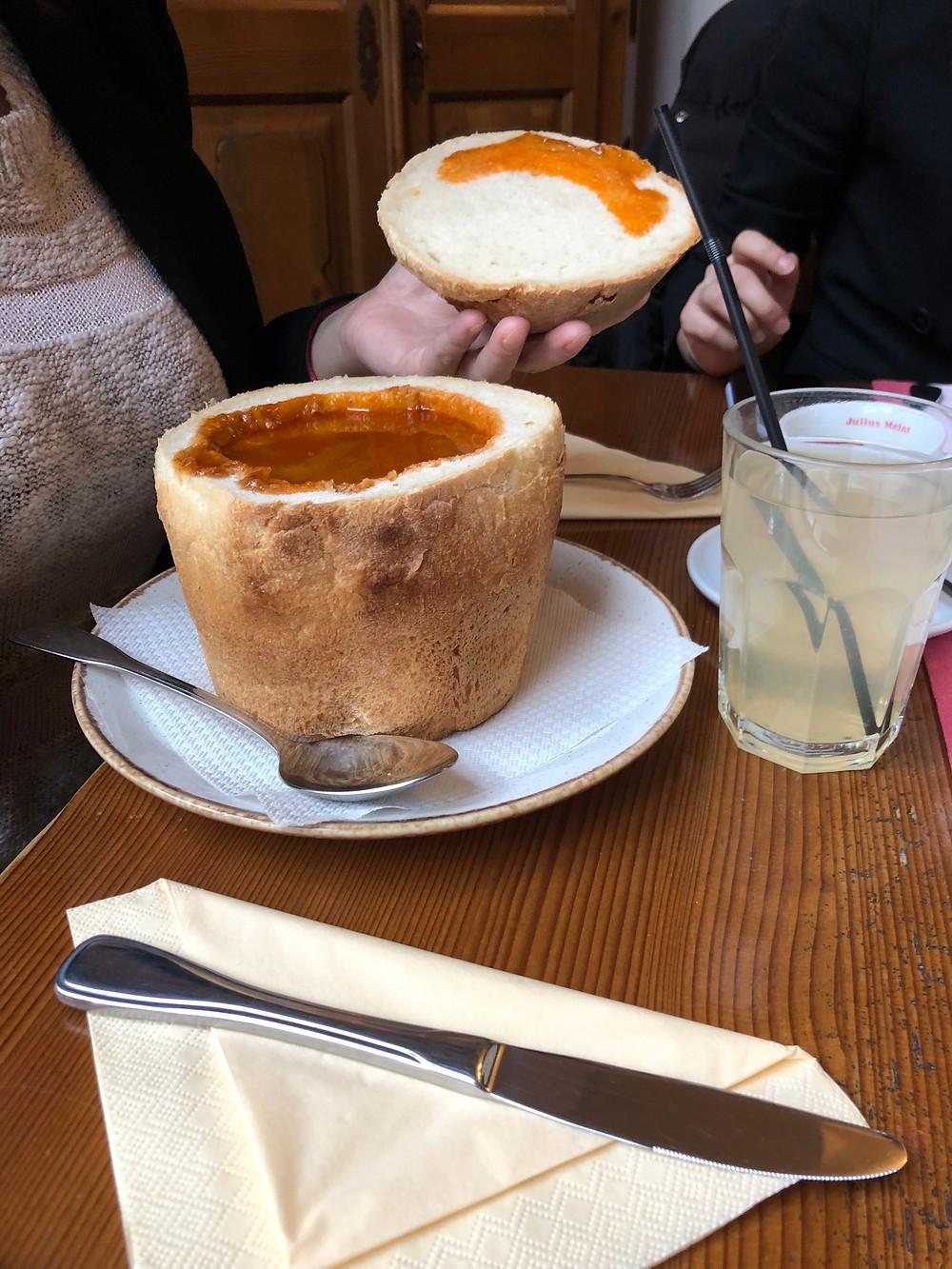 Goulash bread bowl Hermania Romania Sibiu