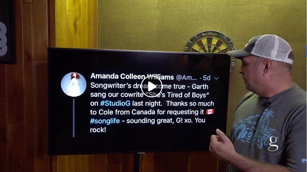 Garth Brooks Studio G Amanda Colleen Williams songwriter She's Tired of Boys