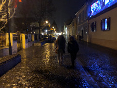 Sibiu Romania rainy street