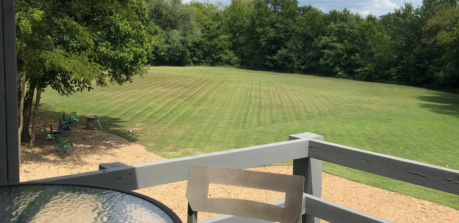 Upstairs patio view of golf green