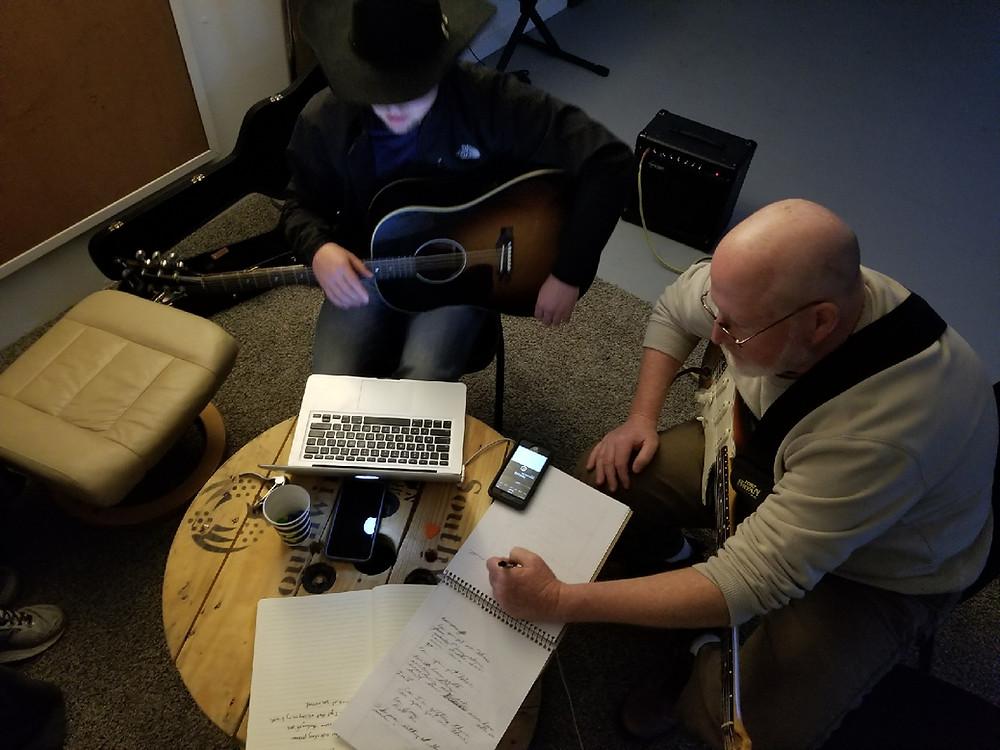 Songwriters in Nashville Taylor Lewis and Dennis Polattie at Songpreneurs retreat
