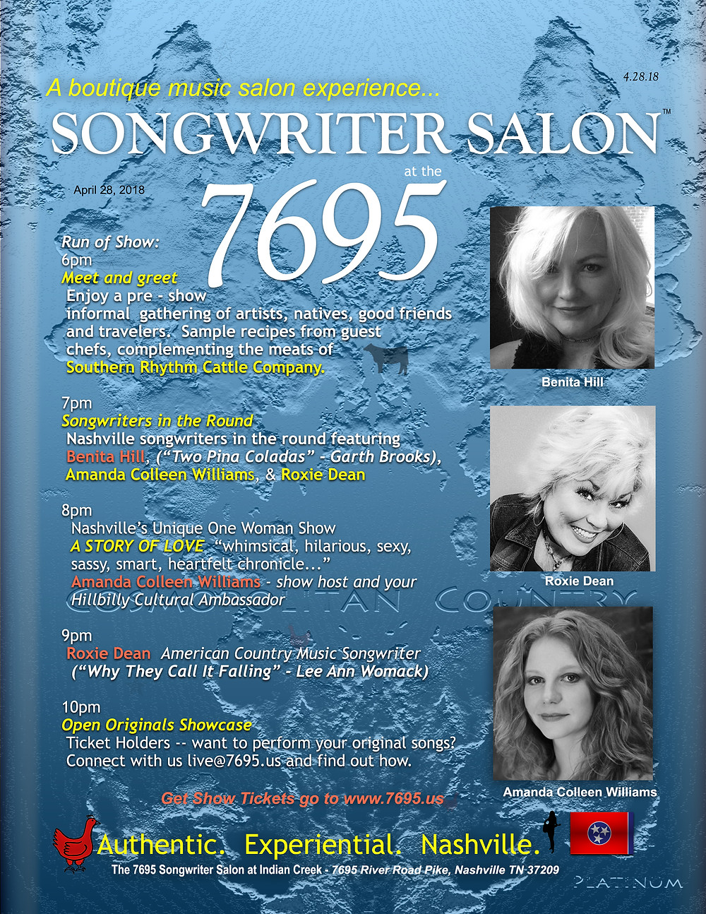 Songwriter Salon at the 7695 April 28, 2018 Benita Hill, Roxie Dean, Amanda Colleen Williams