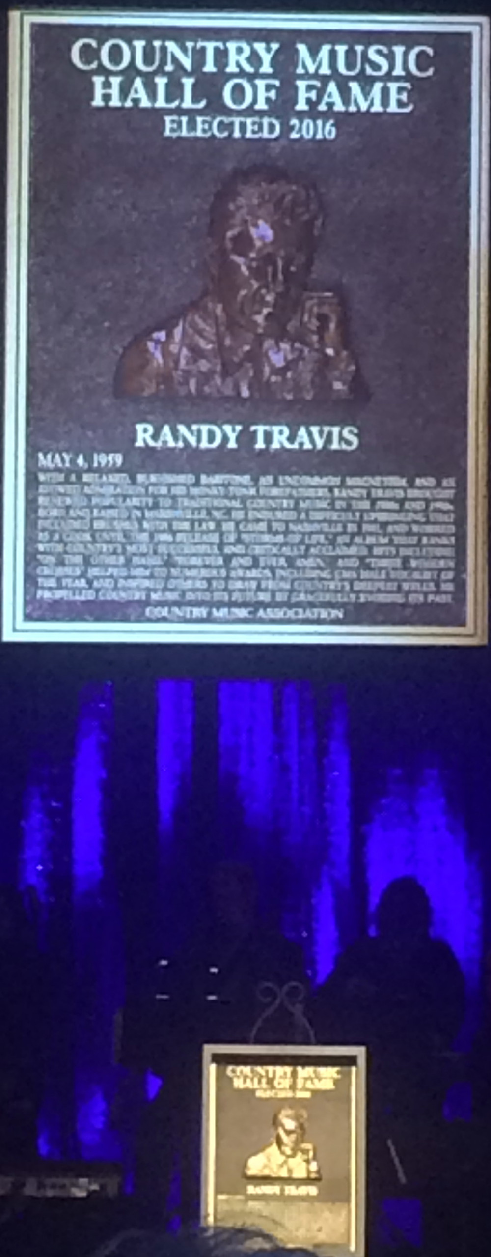 Country Music Hall of Fame Randy Travis Plaque