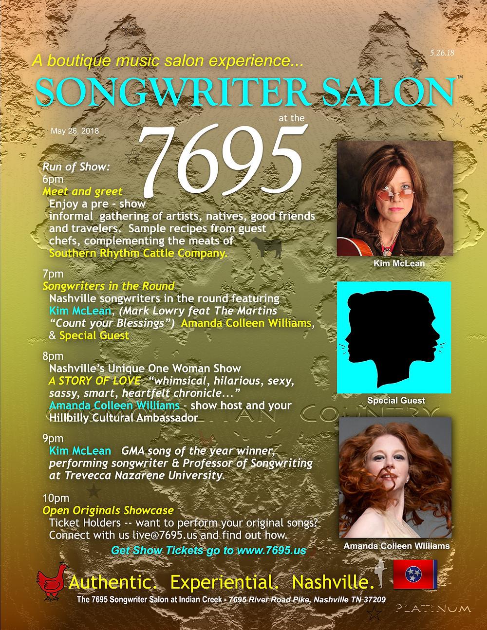 Songwriter Salon Kim McLean Amanda Colleen Williams May 26 2018
