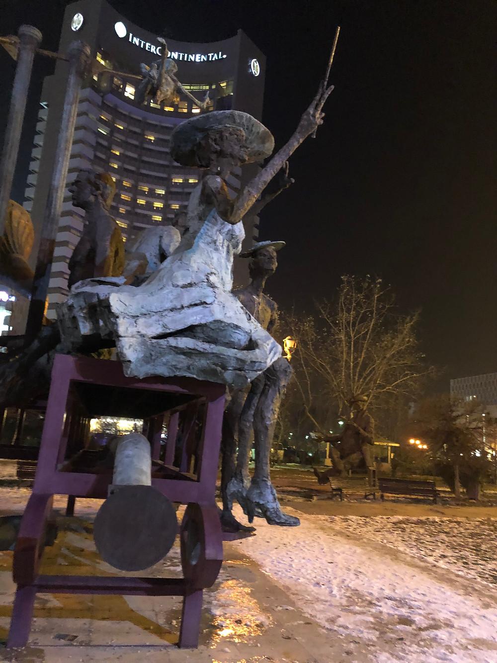 Statue near hotel
