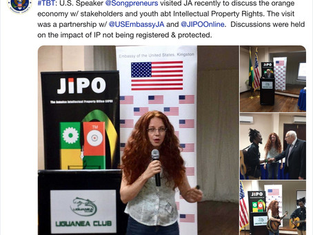 U.S. Embassy Jamaica Tweets About Songpreneurs Recent Arts Envoy IPR Visit