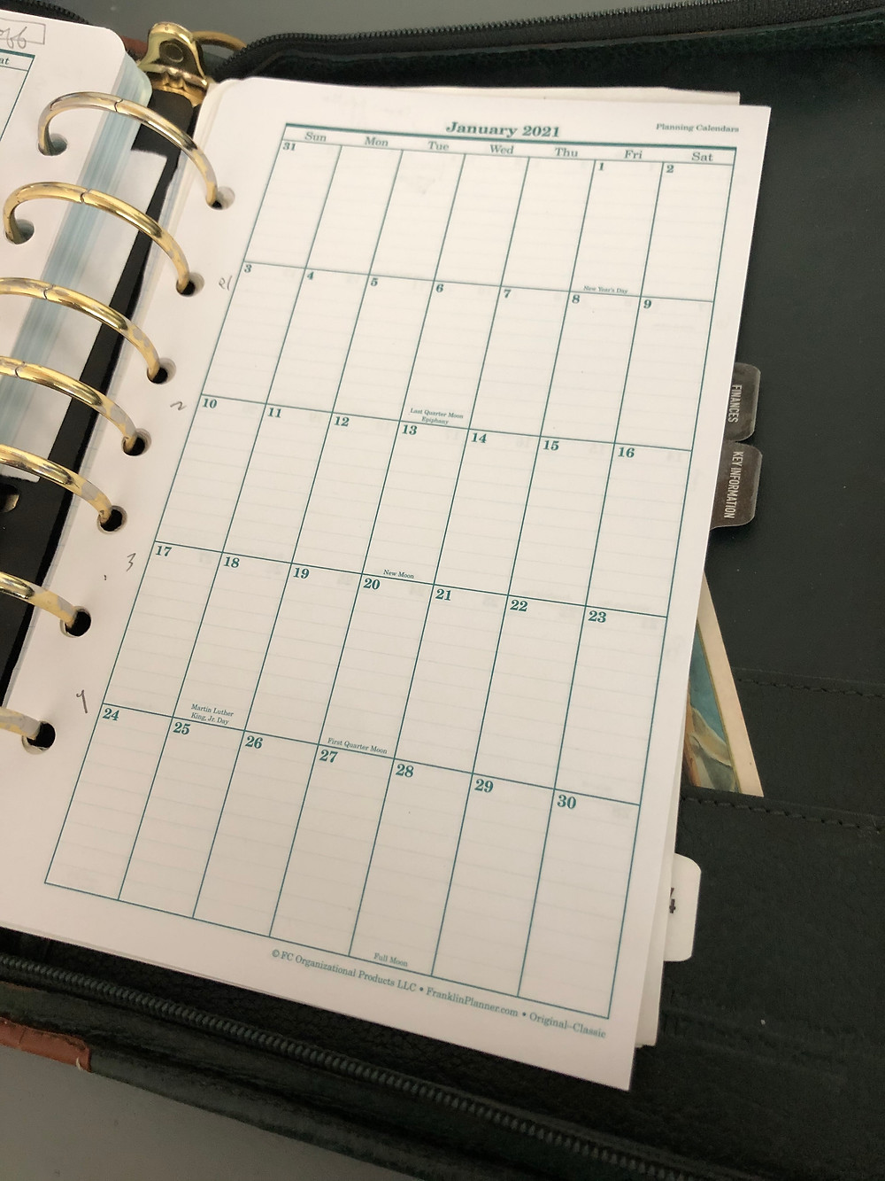 Franklin Covey planner page