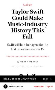 Taylor Swift Free Agent Vanity Fair