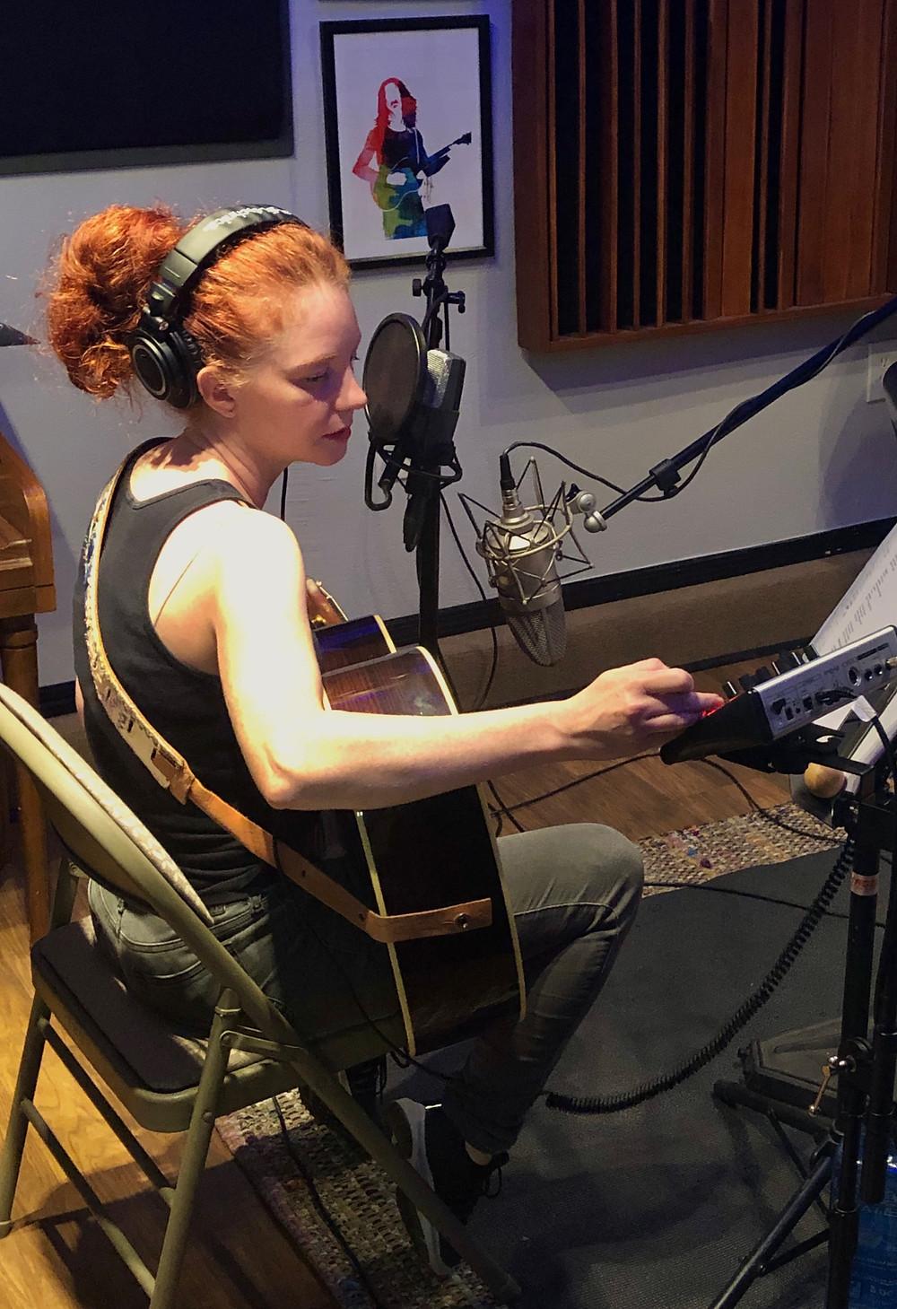 Amanda Colleen Williams Nashville red headed songwriter in the studio recording new album music