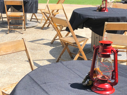 Lanterns and wooden tables
