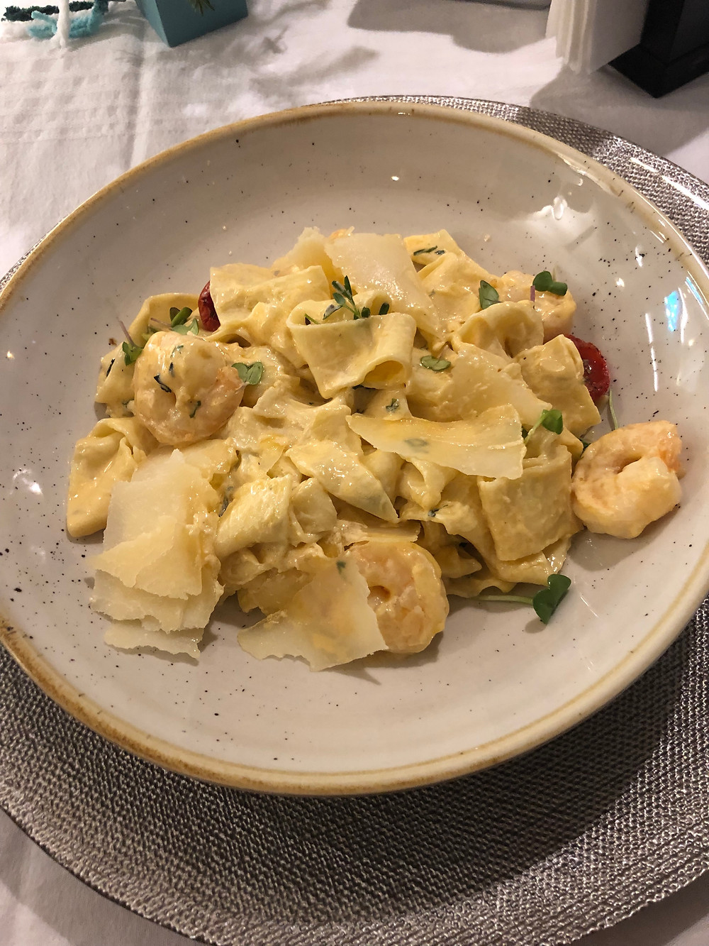 fettuccini with seafood at Double Tree Hilton hotel restaurant in Cluj