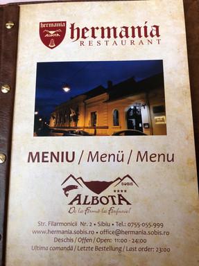 Hermania Restaurant Menu