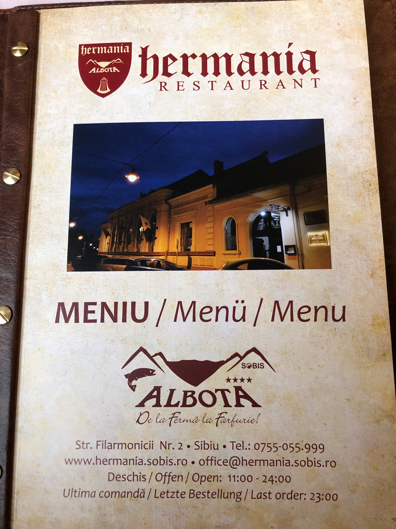 Hermania Restaurant Menu