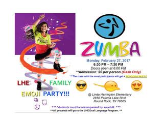 Family Zumba Night: Monday, Feb. 27 at 6:30pm
