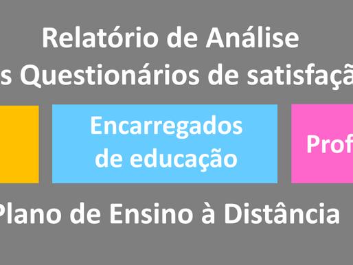 Relatório da análise dos questionários de satisfação do plano EAD