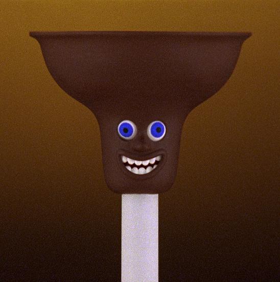 TOILET PLUNGER (plastic, wood, paint / 12 x 31 cm)