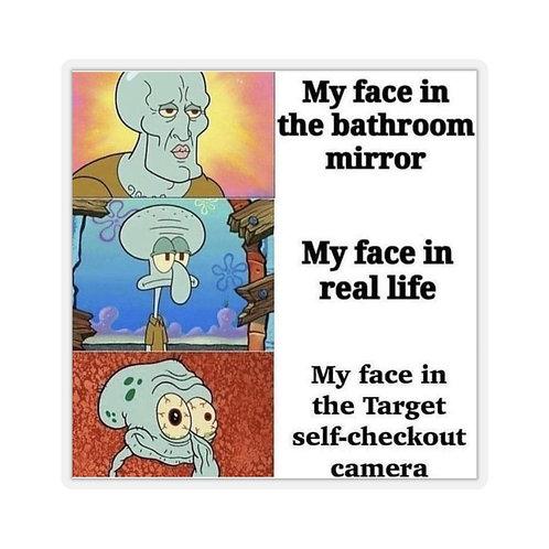 """I woke up like this"" Spongebob meme sticker"
