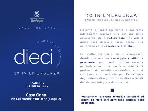 """""""10 IN EMERGENZA"""" - 3 LUGLIO L'AQUILA"""