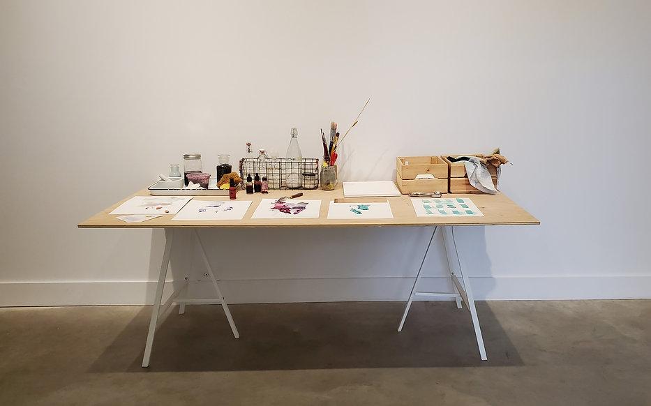 Work table installation at GrayDuck Gallery, Austin Texas