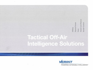 Verint Insights Part 2: Tactical Off-Air Intelligence Solutions