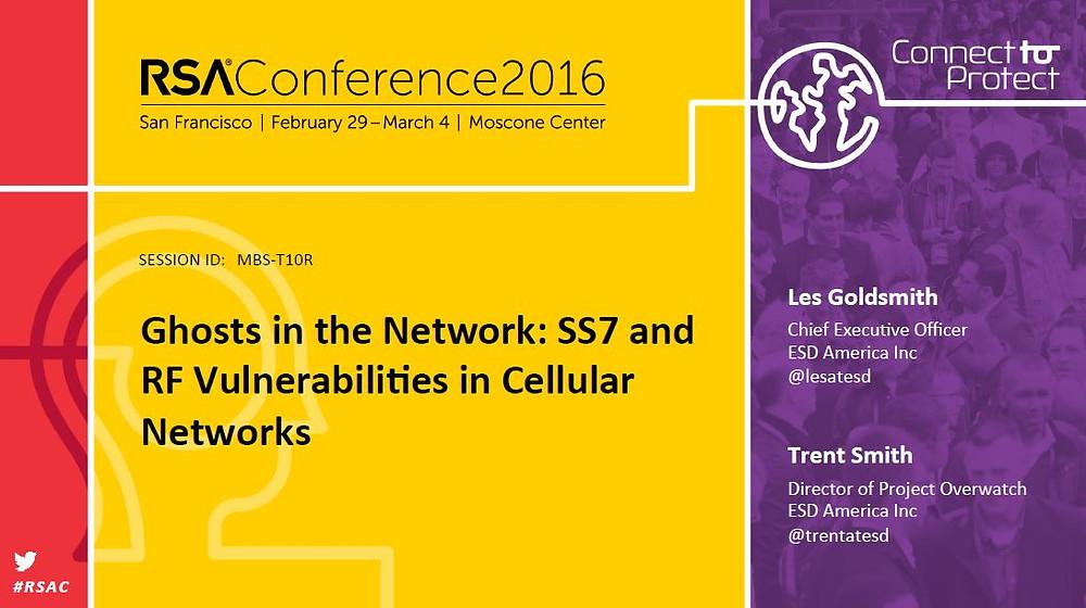 RSA Conference 2016 - ESD America SS7 Vulnerabilities presentation