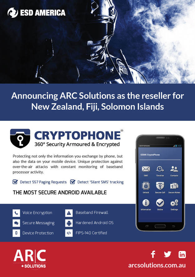 ARC Solutions - ESD America's Cryptophone reseller for NZ, Fiji
