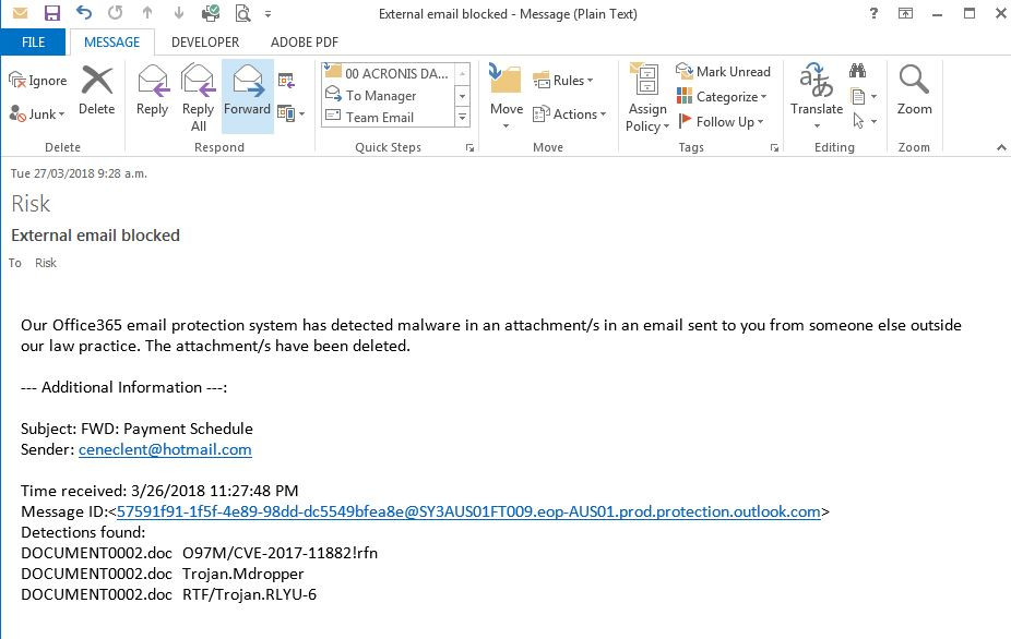 Trojan phishing email blocked by email system