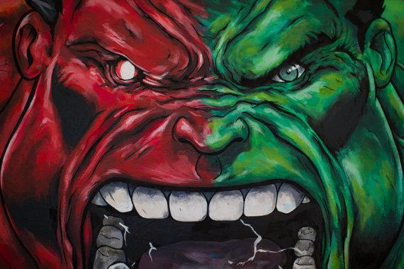 Red vs Green Hulk