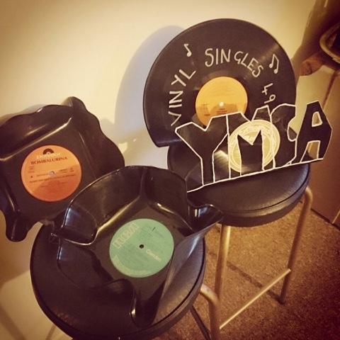 Vinyl record display signs and bowls