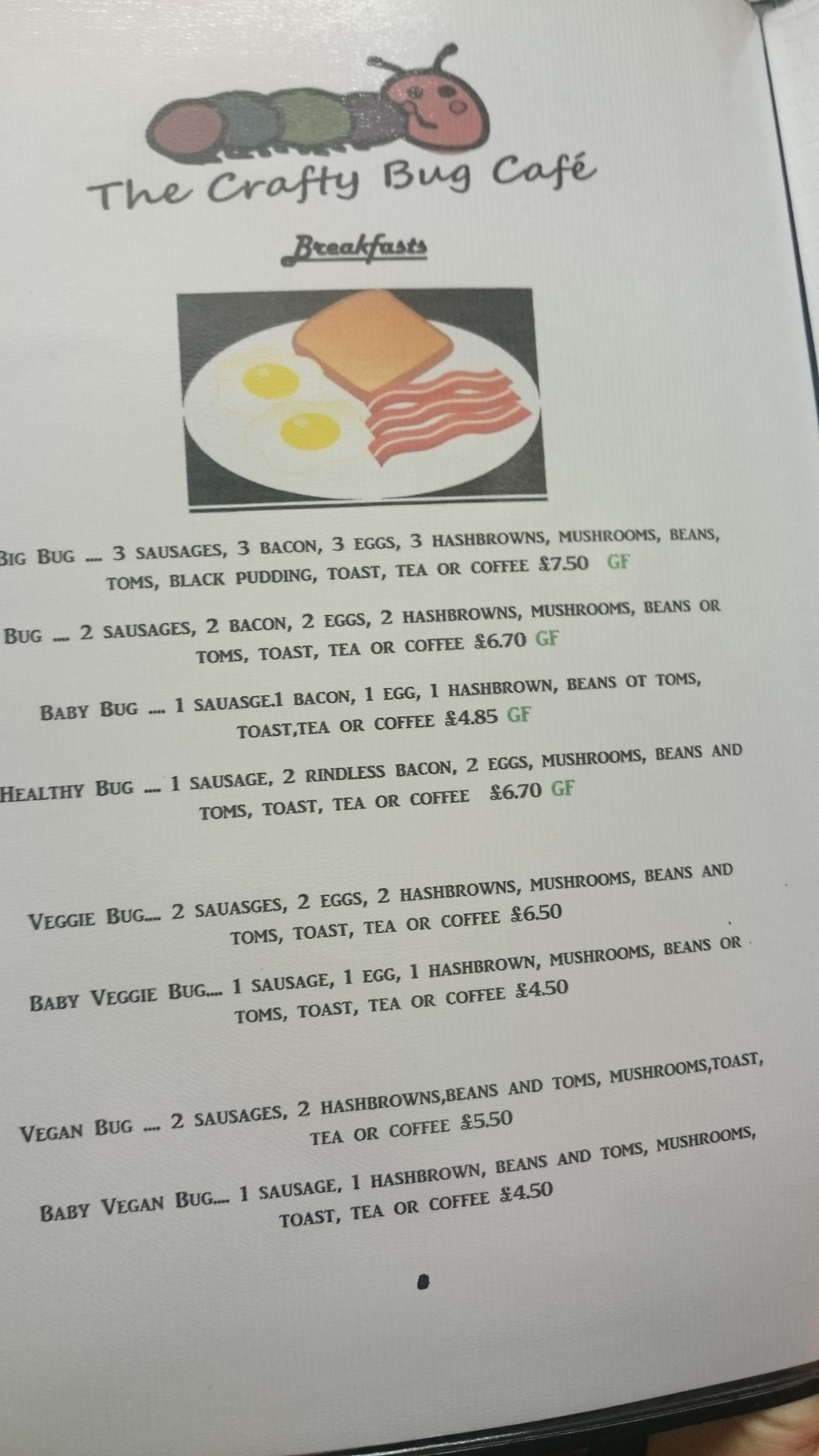 Cafe Breakfast Woolston Southampton menu