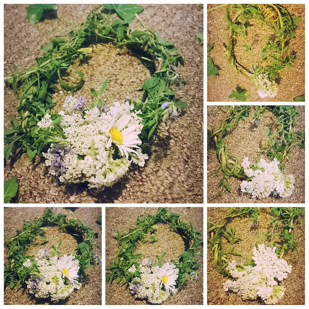 Outdoor craft. Head band using natural plants and branches