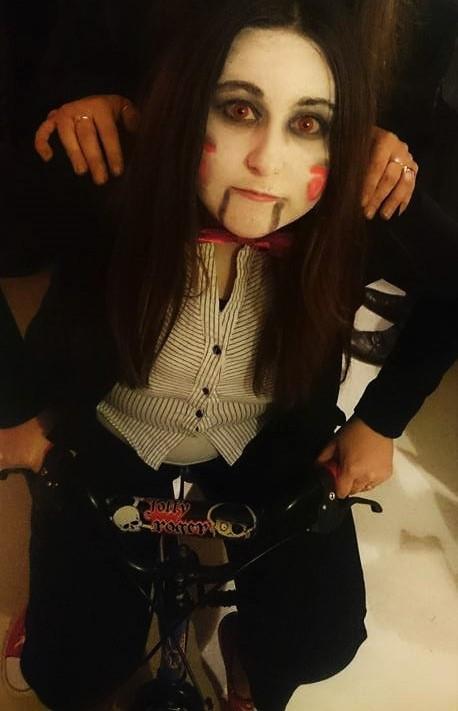 Gemma McKenzie dressed as Saw Halloween